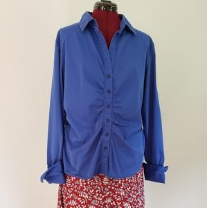 New yourk & Co. Blue ruched XL stretch button top